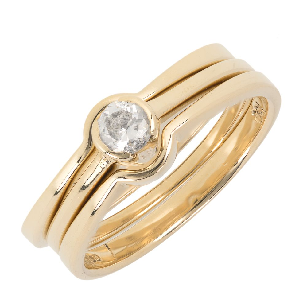 Pre-owned 18ct Gold Solitaire Bridal Set Engagement Ring - 6g  Cubic Zirconia Gold