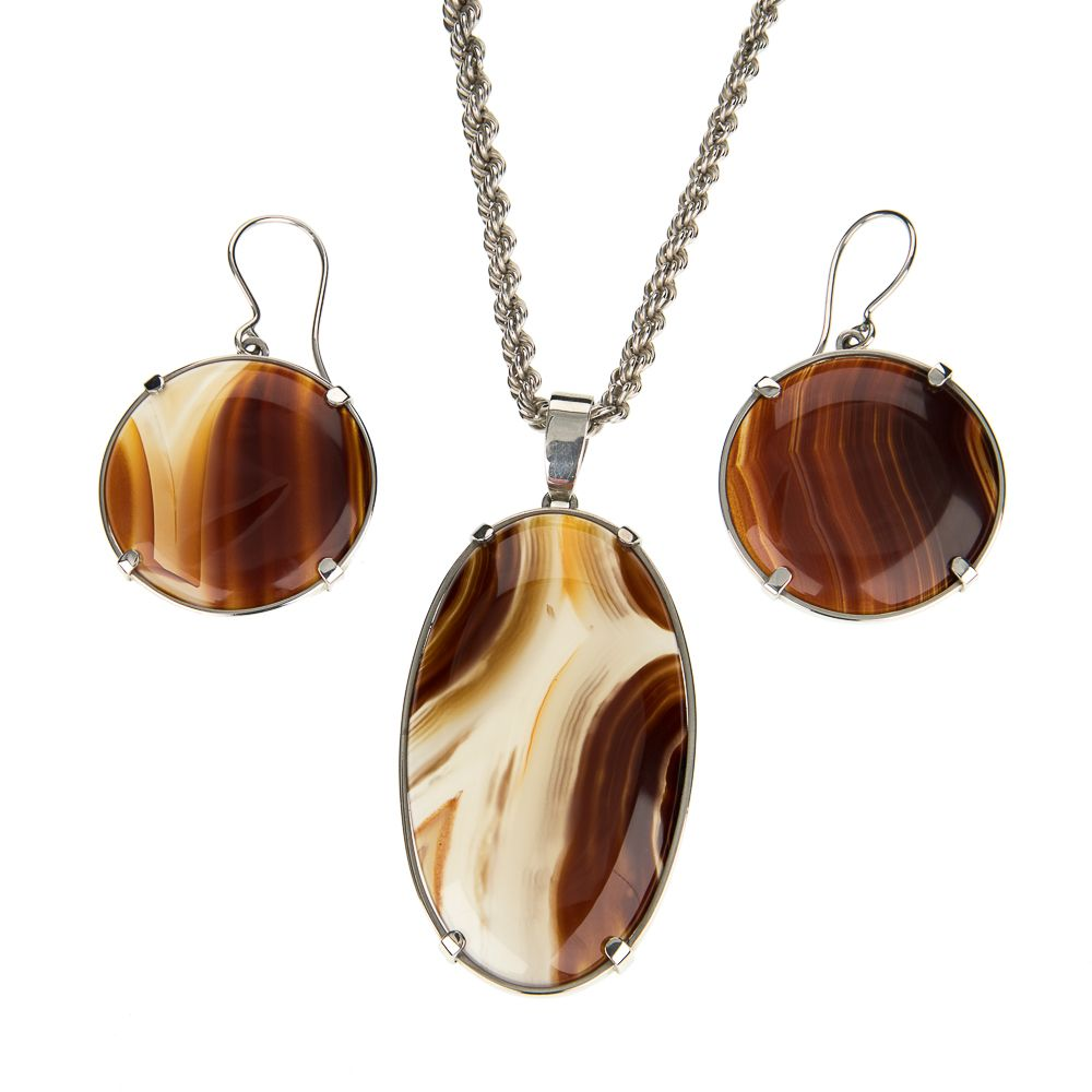 Pre-owned Natural Agate Gemstone Silver Set Agate Silver