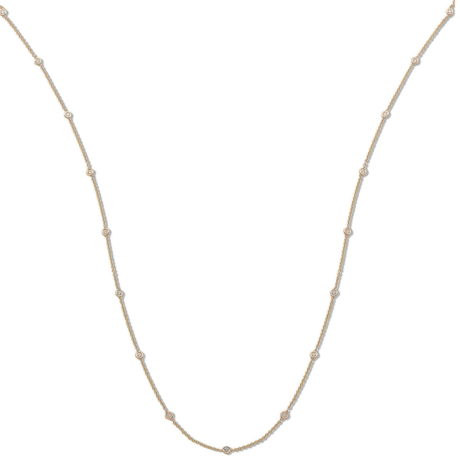 18ct Yellow Gold 1.00ct Rubover Diamond Chain (36in/91cm)