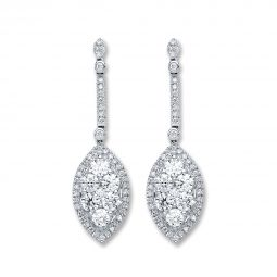 18ct White Gold 2.50ct Diamond Drop Earrings