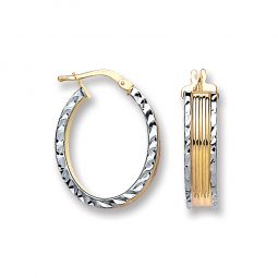 Silver Ribbed Oval 2 Colour Hoop Earrings 25.0 X 19mm