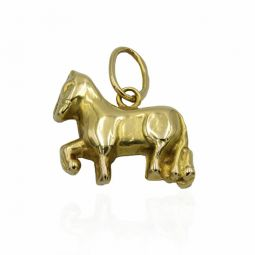 Pre-owned 14ct Yellow Gold Pony Charm/pendant