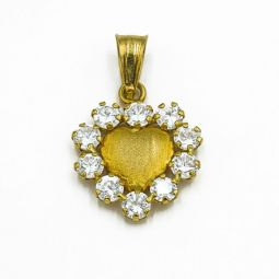 Pre-owned Cz Heart Pendant 18ct Gold