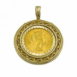 Pre-owned Full Sovereign Pendant In 9ct Gold Mount