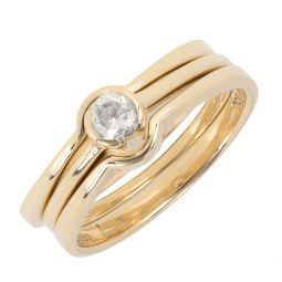 Pre-owned 18ct Gold Solitaire Bridal Set Engagement Ring - 6g