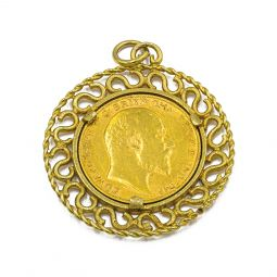 Pre-owned Half Sovereign Gold Coin Pendant In 9ct Gold Mount