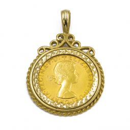 Pre-owned Sovereign Gold Coin Pendant In 9ct Gold Mount