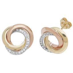 9ct Tricolour Gold Cz Stud Earrings