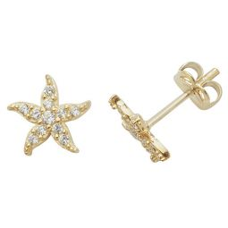 9ct Yellow Gold Cz Fishstar Stud Earrings