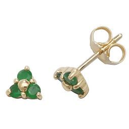 9ct Gold Emerald Rubover Studs