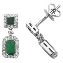 9ct White Gold Emerald Drop Earrings