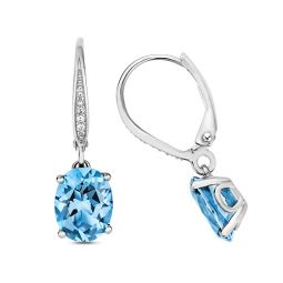 9ct White Gold Oval Swiss Blue Topaz Drop Earrings