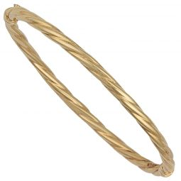 9ct Yellow Gold Twisted Bangle 3.7mm