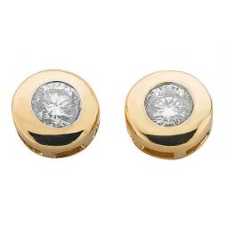 9ct Yellow Gold 0.40ct Rubover Set Diamond Stud Earrings