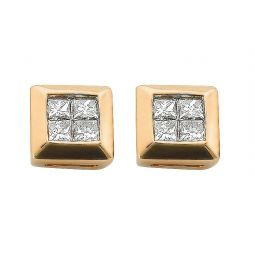 9ct Yellow Gold 0.25cts 4 Stone Rubover Set Princess Cut Diamond