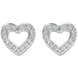 18ct White Gold 0.18ct Diamond Heart Stud Earrings