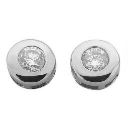 9ct White Gold 0.30cts Rubover Set Diamond Stud Earrings