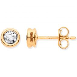 9ct Gold Rub-Over Illusion Set 0.10cts Diamond Studs