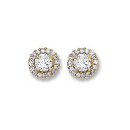 9ct Yellow Gold And Cz Stud Earrings 7.3mm