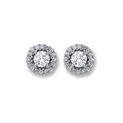 9ct White Gold Cz Cluster Studs 7.5mm