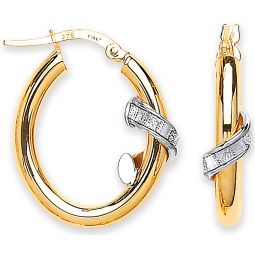 9ct Gold Oval Tube With Moondust Design Earrings