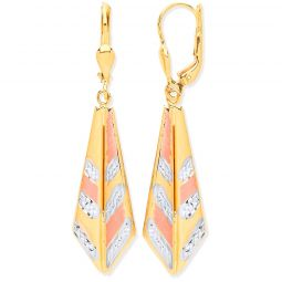 9ct 3 Colour Gold Drop Earrings