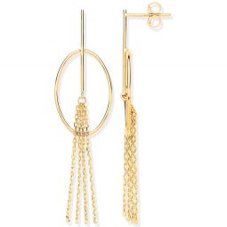 9ct Yellow Gold Oval Tube Tassel Drop Earrings 55 X 14.5mm