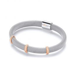 Sterling Silver Mesh Bangle Set With White Cubic Zirconia