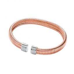 Rose Gold Coated Sterling Silver Bangle Set With White CZs