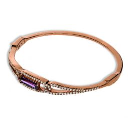 Rose Gold Coated Sterling Silver Bangle Set With Purple CZs