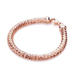 Rose Gold Coated Mesh Silver Bracelet-7.5""