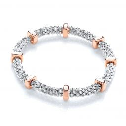 Rose Gold Coated Mesh Silver Bracelet-7""