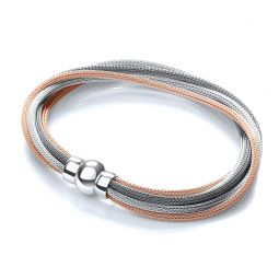 Multi-Colour Mesh Silver Bracelet-7""