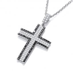 """Silver Cross Set With Cubic zirconia-18"""""""