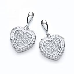Drop Silver Earrings Set With CZs