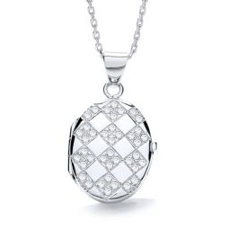Oval Shape Silver Locket Set With Cubic Zirconia
