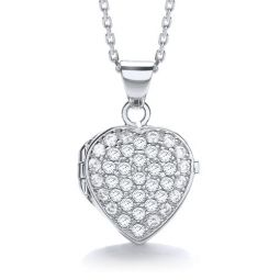 Heart Shape Silver Locket Set With Cubic Zirconia