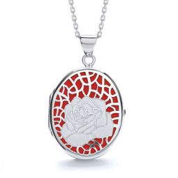 Oval Shape Silver Locket Embellished With Red Enamel