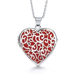 Heart Shape Silver Locket Embellished With Red Enamel