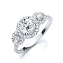 Silver & White CZ Three Stone Ring