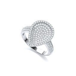 Silver & White CZ Cluster Ring