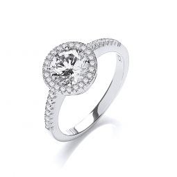 Silver & White CZ Halo Ring