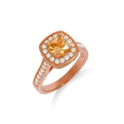 Rose Coated Silver & Champagne CZ Halo Ring