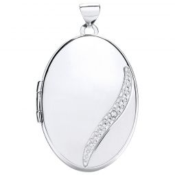 9ct Gold Oval Locket with Diamond