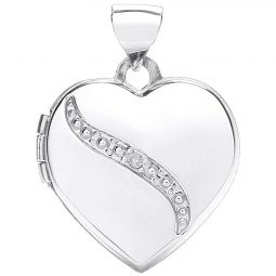 9ct Gold Heart Shape Locket with Diamond