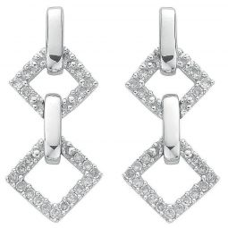 9ct White Gold 0.26ct Diamond Drop Earrings