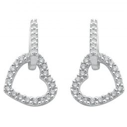 9ct White Gold 0.50ct Diamond Heart Drop Earrings