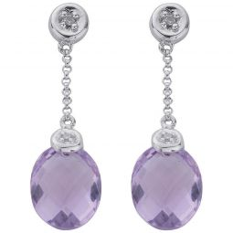 9ct White Gold 0.04ct Diamond & 4.66ct Amethyst Drop Earrings