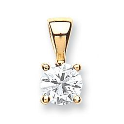 18ct Yellow Gold 0.70cts Claw Set Diamond Pendant