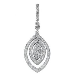 9ct White Gold and 0.50cts Diamond Drop Pendant